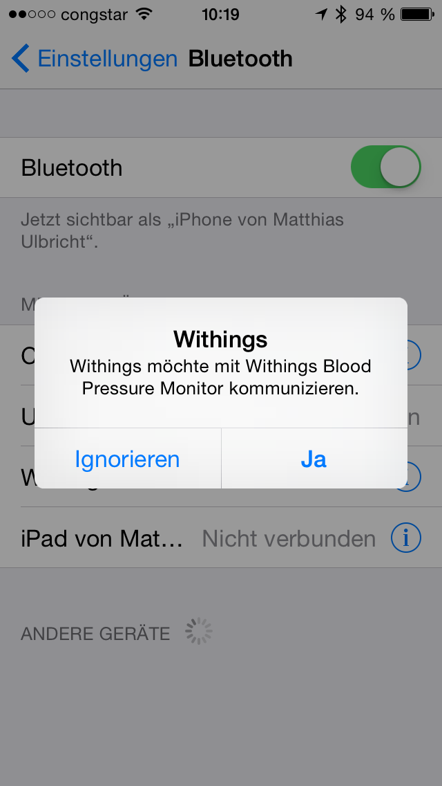 App Aufforderung Bluetooth Withings